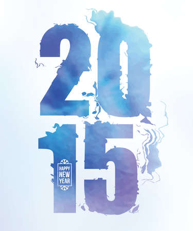 water color: 2015 happy new year water color numbers