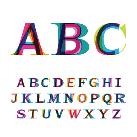 imposing: the colorful font consisting of three letters