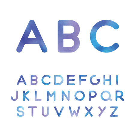 the picturesque alphabet in blue shades