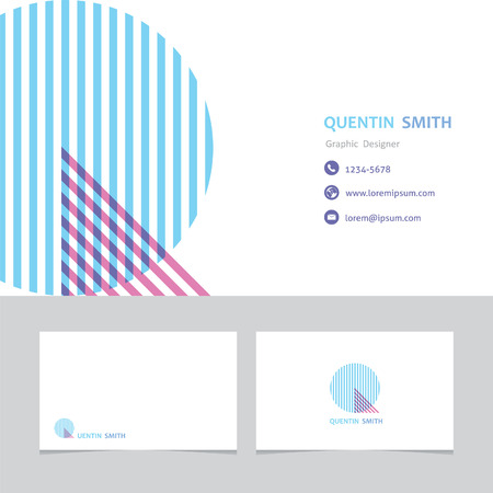 business card template with a letter q