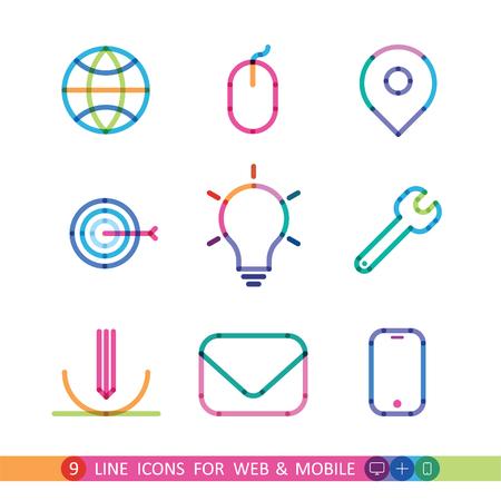 proposito: conjunto de iconos universales 9 colores para la web y móvil