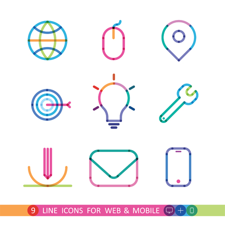 purpose: set from 9 color universal icons for web and mobile