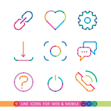 set from 9 colorful icons for web and mobile Illustration