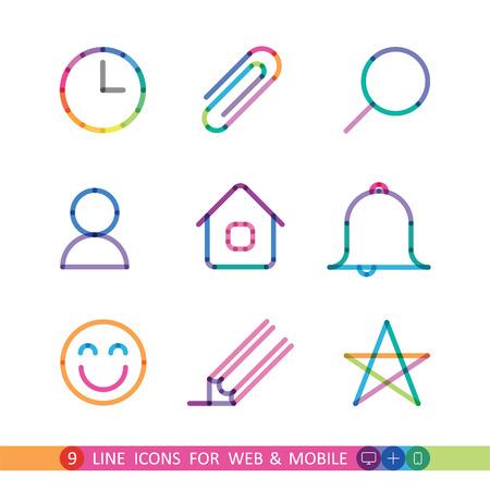 웹 및 모바일 9 평면 아이콘에서 설정 일러스트