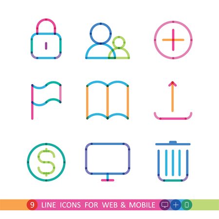 set from 9 universal icons for web and mobile Illustration
