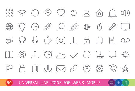 set from 50 flat linear icons for web and mobile Vector