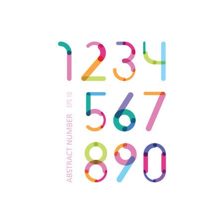 두께가 다른 세부 이루어진 밝은 숫자 일러스트