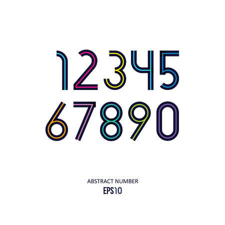set of the stylized dark numbers with the color line