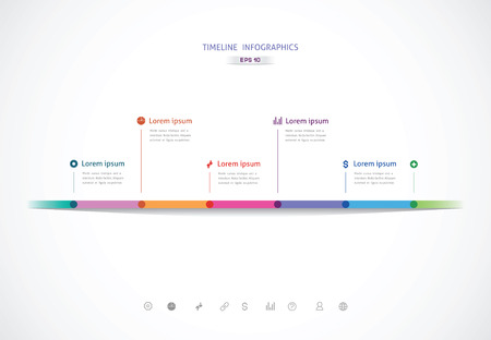 the horizontal timeline with six color points for information