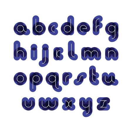 white letters: font from colorful thick figures for a background with thin white letters Illustration
