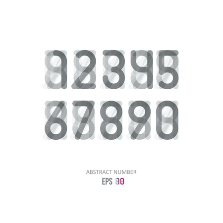 imposing: set of grey numbers on a gray background with effect of transparency Illustration