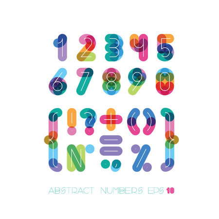 set of numbers and symbols from colorful thick figures for a background with thin white from over Vector