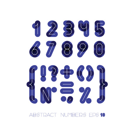 set of numbers and symbols from dark thick figures for a background with thin white from over Vector