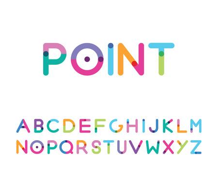 carattere con un punto luminoso lettere maiuscole Vettoriali