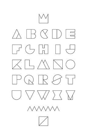 geometrical linear font Vector