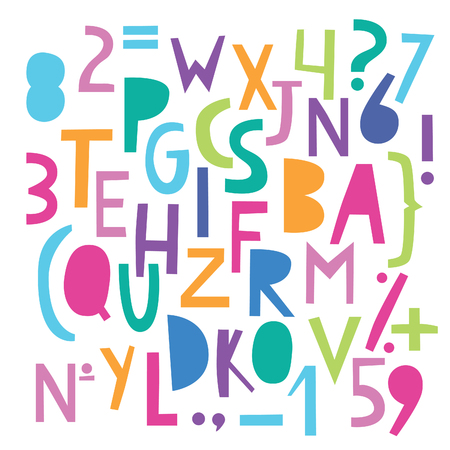 childrens book: set of color cheerful letters and numbers