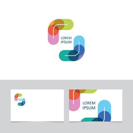 중앙에 회사 이름과 다양한 컬러 브래킷 일러스트