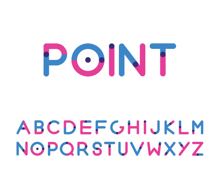 two point: two color font with a point capital letters