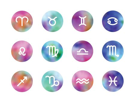 water color: zodiac signs on water color circles