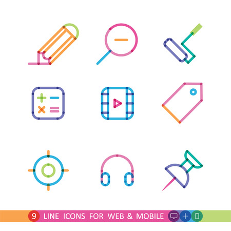 set from 9 color universal icons for web and mobile