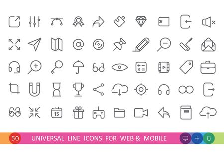 웹 및 모바일 용 50 개의 평면 아이콘에서 설정 일러스트