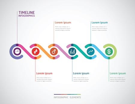 Tiempo: Infografía de línea de tiempo con un círculo en el centro