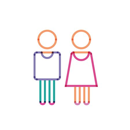 color flat icon boy and girl
