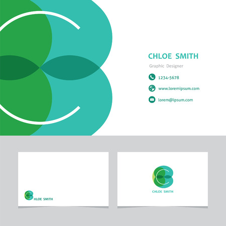 business card template: business card template letter C