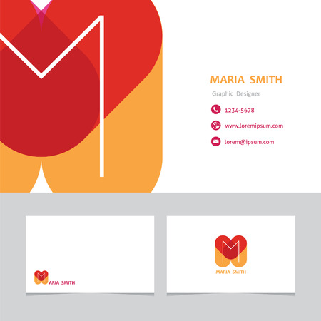 user name: business card template letter M