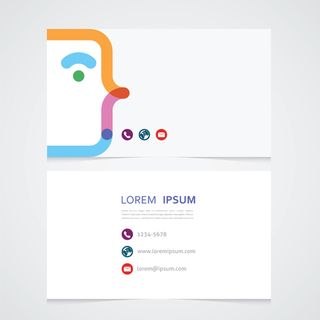 three points: the minimalist business card with the stylized face and three points Illustration