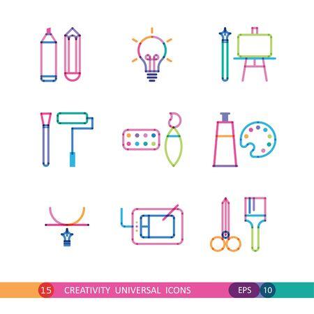 bright set of creativity flat icons Çizim