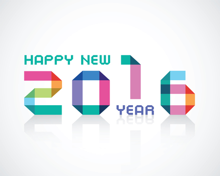 imposing: happy new 2016 year an illustration with color geometry numbers Illustration