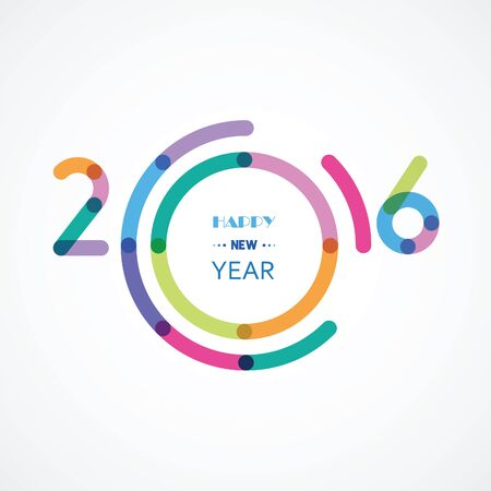 happy new 2016 an illustration with abstract colorful numbers and a circle