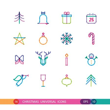 color set from 16 universal Christmas icons