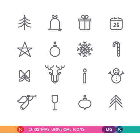 set from 16 universal Christmas icons
