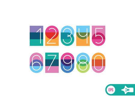 imposing: white numbers on a color background with effect transparency Illustration