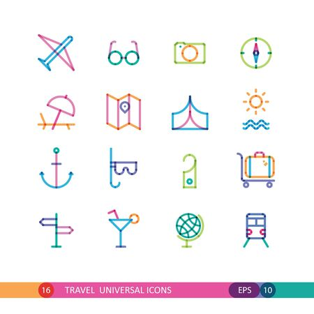 universal icons: set of color travel universal icons