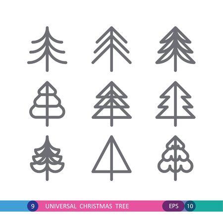 fir trees: set of Christmas fir trees
