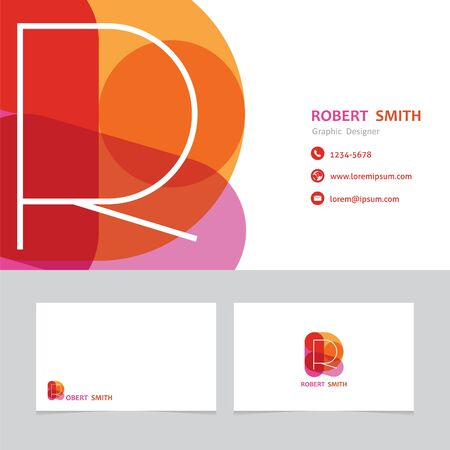 business card template: business card template letter R with effect of transparency