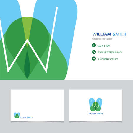 business card template letter W with effect of transparency