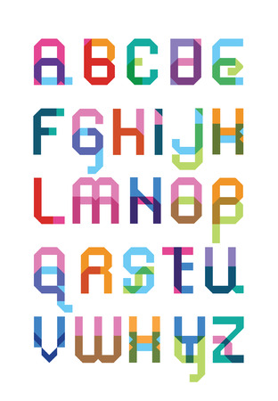 color geometrical font from a capital and lower case letter with effect of transparency