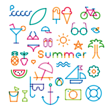 summer holidays: set of icons with effect of transparency summer