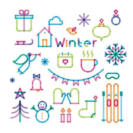 icons set: set of icons with effect of transparency winter Illustration