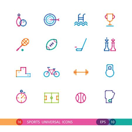 set of color sports universal icons