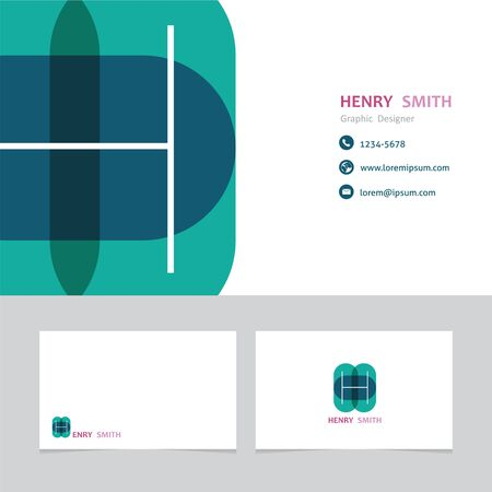 business card template: business card template letter H with effect of transparency