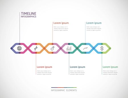 six point: horizontal timeline infographics with six color point Illustration
