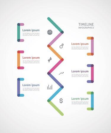 sectors: timeline infographics colorful broken line with bracket Illustration