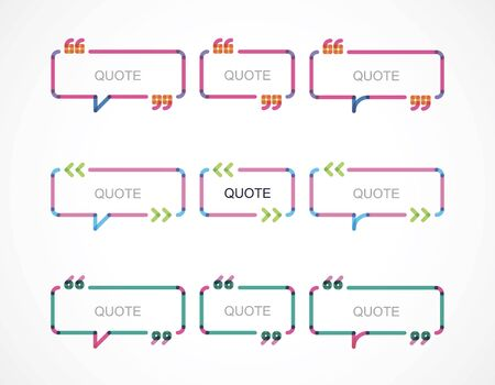 framework: speech  bubble with different quotes Illustration