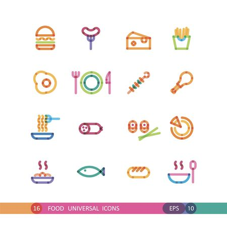 meat soup: set food universal icon with effect of transparency Illustration