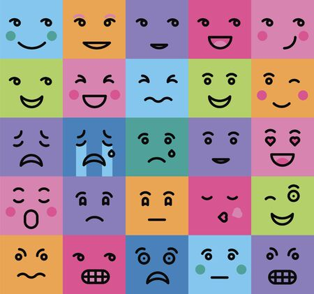 set of persons emotion on a color background